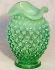 Fenton Green Opalescent Hobnail Mini Vase
