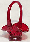 Fenton Ruby Red Mini Basket, Diamond Design