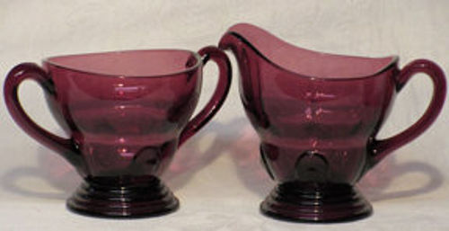 New Martinsville Moondrops Amethyst Creamer & Sugar, 7 oz.