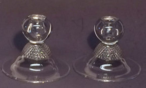 Duncan and Miller Tear Drop Single Candlesticks (pair)