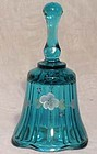 Fenton Blue/Green hand-painted Mini Bell