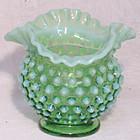 "Fenton Green Opalescent Hobnail 4"" Vase"