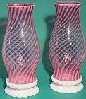 Fenton Cranberry Opalescent Swirled Hurricane Lamp
