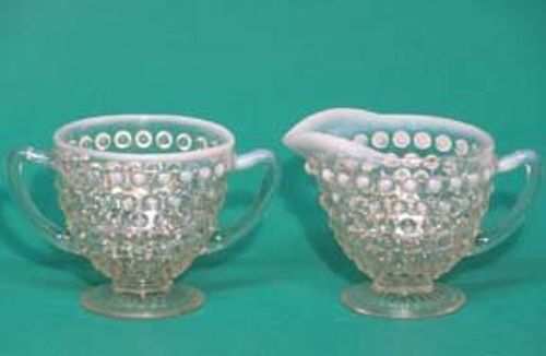 Hocking Moonstone Creamer & Sugar