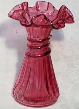 Fenton Country Cranberry Straw Vase
