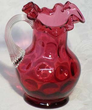 Fenton Cranberry Coin Optic pitcher