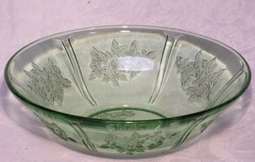 Federal Sharon (Cabbage Rose) Green Bowl, 8.5""