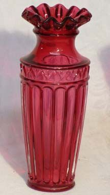 "Fenton Cranberry Fluted Column 7.5"" Vase"