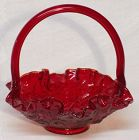 Fenton Red Roses Small Basket