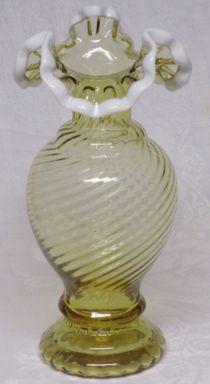"Fenton Amber Snowcrest 9"" Vase"