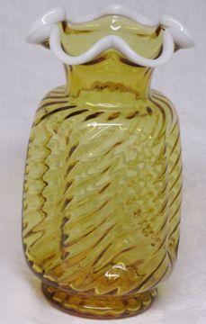 """Fenton Amber Snowcrest 9"""" Pinched Vase"""