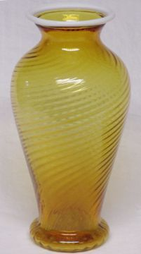 "Fenton Amber Snowcrest 1"" Vase, Spiral Optic"