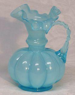 Fenton Blue Overlay Mini Jug