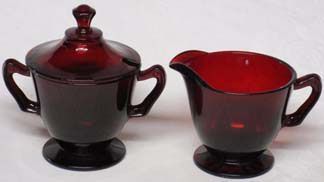 Anchor Hocking Royal Ruby Red Creamer & Sugar w/lid
