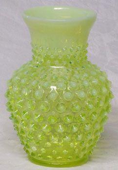 Fenton Topaz Hobnail Vase