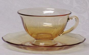 Fostoria Fairfax Amber Cup and Saucer