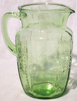 Hocking Green Princess Water Pitcher
