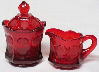 Fostoria Red Coin Creamer and Sugar
