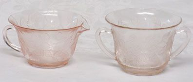 MacBeth-Evans Pink Dogwood Creamer & Sugar