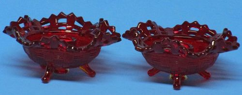 Fenton Red Basketweave Candlesticks