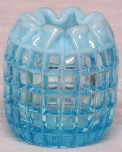 Fenton Blue Opalescent Waffle Vase
