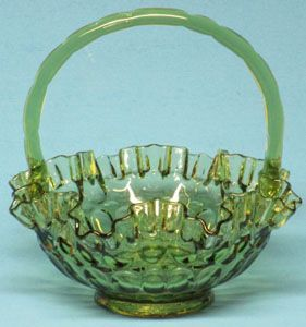 Fenton Thumbprint Colonial Green Basket, 8""