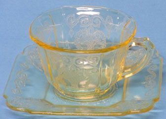 Indiana Glass Lorain Cup & Saucer, Yellow