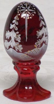 Fenton Red Hand Painted Egg