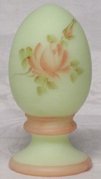 Fenton Satin Custard Hand Painted Egg