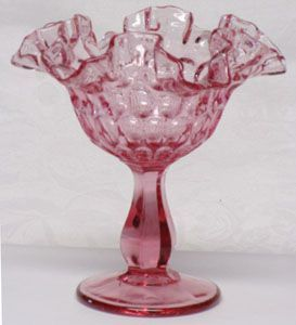 Fenton Dusty Rose Thumbprint Compote