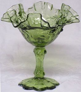 Fenton Colonial Green Rose Comport