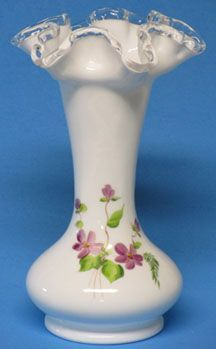 "Fenton Violets in the Snow 8"" Vase"