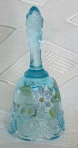 Fenton Ligt Blue Mini Bell w/Glass Frit, hand-painted