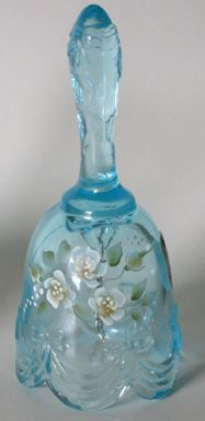 Fenton Light Blue Mini Bell, Hand Painted Floral