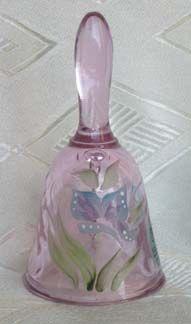 Fenton Pink Mini Bell w/Butterfly