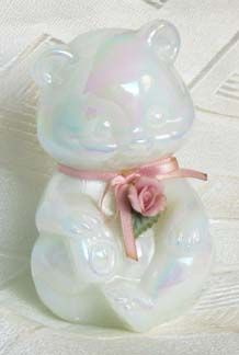 Fenton Milkglass Pearlized Bear with Rose Applique