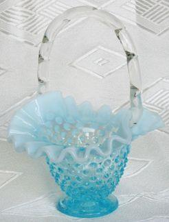 Fenton Blue Opalescent Hobnail Basket