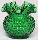 """Fenton Forest Green Hobnail 5"""" Vase"""