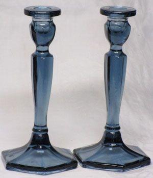 Fenton Corn Blue Pair Candlesticks
