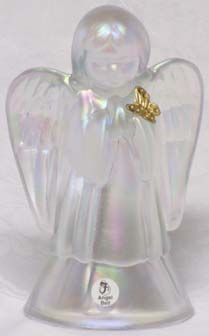 Fenton Sea Mist Angel Bell with Gold Butterfly
