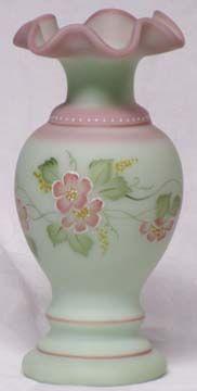 """Fenton Lotus Mist 8.5"""" Hand Painted Vase"""