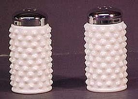 Fenton Hobnail Shakers Milkglass (pair)