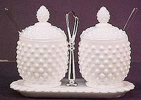 Fenton Hobnail Jam & Jelly Set, milkglass