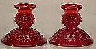 Fenton Ruby Red Hobnail Candlesticks