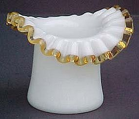 Fenton Gold Crest Small Hat Vase