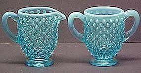 Fenton Blue Opalescent Hobnail Creamer and Sugar
