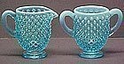 Fenton Blue Opalescent Hobnail Creamer and Sugar
