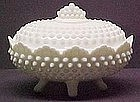Fenton Covered Milkglass Covered Candy Hobnail
