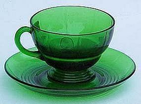 New Martinsville Moondrop Cup and Saucer, Green