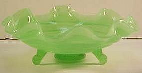 Fenton Jade Green Ringed Bowl